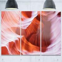 Designart - Antelope Canyon Brown Wall - Landscape Photo Glossy Metal Wall Art