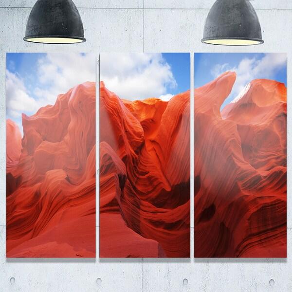 Designart - Red and Orange Shade in Antelope Canyon - Photo Glossy Metal Wall Art