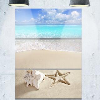 Designart - Caribbean Beach Starfish - Beach Photography Glossy Metal Wall Art