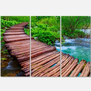 Designart - Wooden Bridge in National Park - Landscape Photo Glossy Metal Wall Art