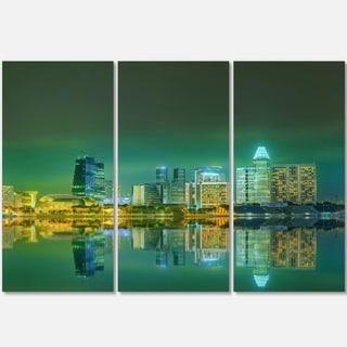 Designart - Singapore View from Marina Bay - Skyline Photo Glossy Metal Wall Art