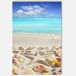 Designart - Caribbean Sea Starfish - Beach and Shore Glossy Metal Wall Art