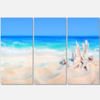 Designart - Seashells on Seashore - Beach and Shore Photo Glossy Metal Wall Art