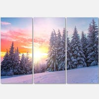 Designart - Winter Sunset in Bulgaria - Landscape Photo Glossy Metal Wall Art