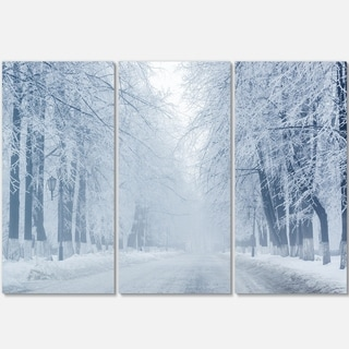 Designart - White Road and Winter Trees - Landscape Photo Glossy Metal Wall Art