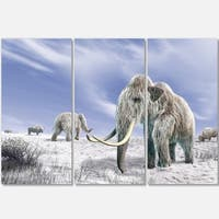 Designart - Mammoth Elephants in Field - Landscape Photo Glossy Metal Wall Art