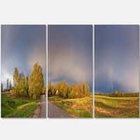 Designart - Green Field Under Rainbow Sky - Landscape Photo Glossy Metal Wall Art