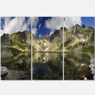 Designart - Mountain Lake with Reflection - Landscape Photo Glossy Metal Wall Art
