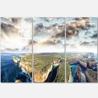 Designart - Twelve Apostles Sunset - Landscape Photography Glossy Metal Wall Art