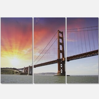 Designart - Gold Gate Bridge and Sky - Landscape Photo Glossy Metal Wall Art