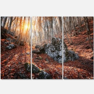 Designart - Rocky Red Autumn Forest - Landscape Photography Glossy Metal Wall Art