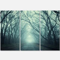 Designart - Scary Forest with Green Light - Landscape Photo Glossy Metal Wall Art