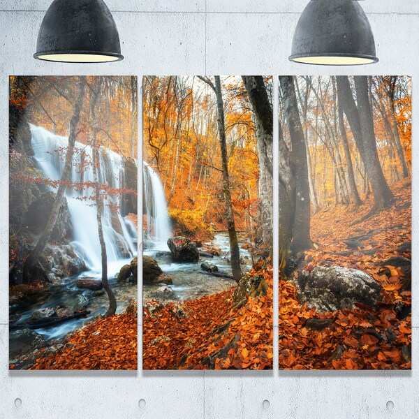 Metal Wall Art Mountain Landscapes : Designart autumn mountain waterfall close view