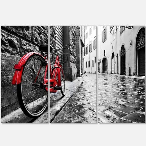 Designart - Retro Vintage Red Bike - Cityscape Photo Glossy Metal Wall Art