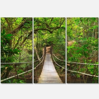 Designart - Bridge to Jungle, Thailand - Landscape Photo Glossy Metal Wall Art
