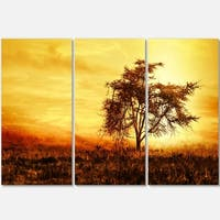 Designart - African Tree Silhouette - Landscape Photo Glossy Metal Wall Art