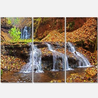 Designart - Dniester Canyon Spring Waterfalls - Landscape Photo Glossy Metal Wall Art