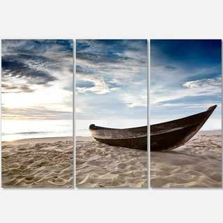 Designart - Old Fisherman Boat - Seashore Photography Glossy Metal Wall Art