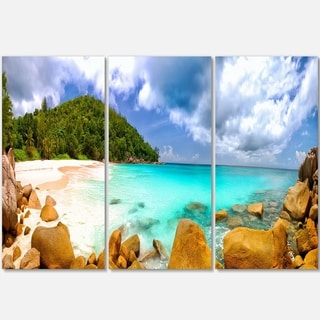 Designart - Seychelles Beach Panorama - Seascape Photo Glossy Metal Wall Art