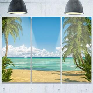 Designart - Palms at Caribbean Beach - Seashore Photo Glossy Metal Wall Art