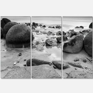 Designart - Moeraki Boulders Black n' White - Seashore Photo Glossy Metal Wall Art
