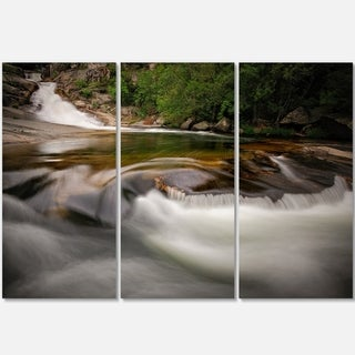 Designart - Segade Waterfall Galicia Spain - Landscape Photo Glossy Metal Wall Art