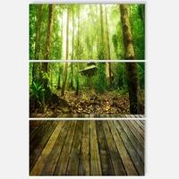 Designart - Wooden Platform in Green Forest - Landscape Photo Glossy Metal Wall Art