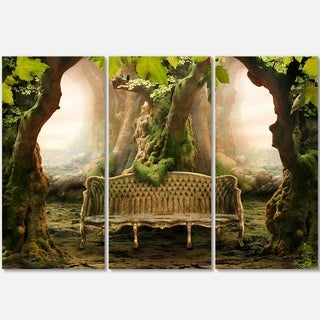 Designart - Romantic Seat in Deep Forest - Landscape Photo Glossy Metal Wall Art