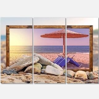 Designart - Framed Beach Sunset - Seashore Art Glossy Metal Wall Art