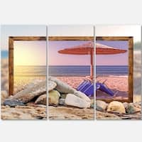 Designart - Framed Beach Sunset - Seashore Art Glossy Metal Wall Art