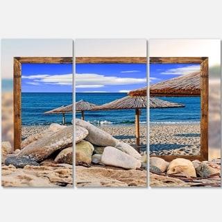 Designart - Framed Beach Umbrellas - Seashore Art Glossy Metal Wall Art