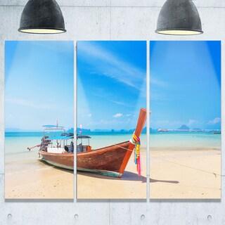 Designart - Tropical Beach with Boat - Seashore Photo Glossy Metal Wall Art