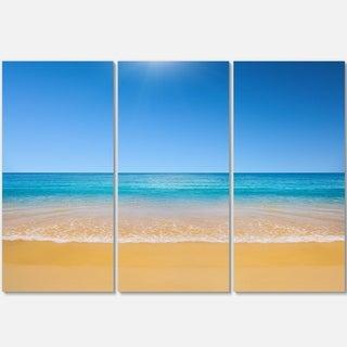 Designart - Dark View of Tropical Beach - Seashore Photo Glossy Metal Wall Art