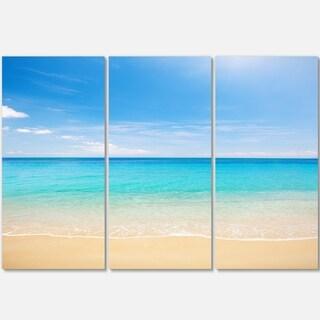 Designart - Bright Blue Tropical Beach - Seashore Photo Glossy Metal Wall Art