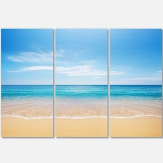 Designart - Calm Blue Sea and Sky - Seashore Photography Glossy Metal Wall Art