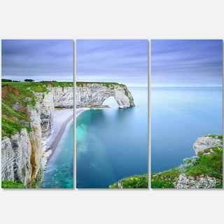 Designart - Manneporte Natural Rock Arch - Seashore Photo Glossy Metal Wall Art