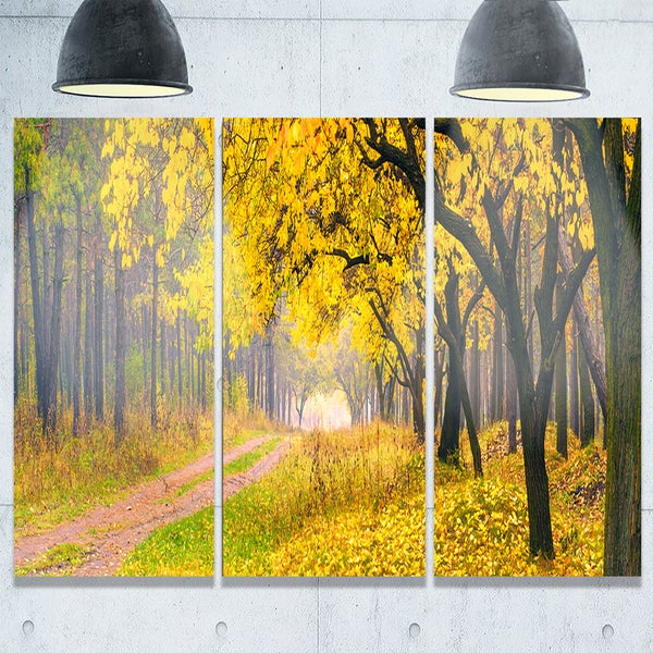 Designart - Bright Yellow Autumn Forest - Landscape Photo Glossy ...