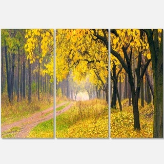 Designart - Bright Yellow Autumn Forest - Landscape Photo Glossy Metal Wall Art