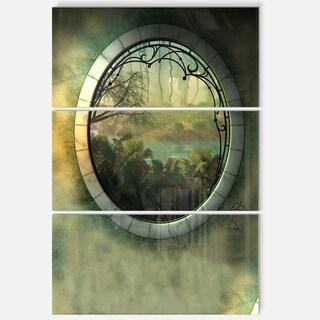 Designart - Green Fantasy Landscape with Frame - Art Photo Glossy Metal Wall Art