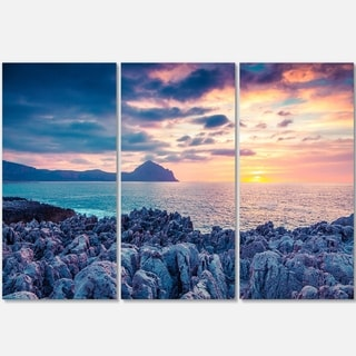 Designart - Spring Sunset Over Monte Cofano - Landscape Photo Glossy Metal Wall Art