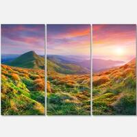 Designart - Pretty Colorful Sunset in Mountains - Landscape Photo Glossy Metal Wall Art