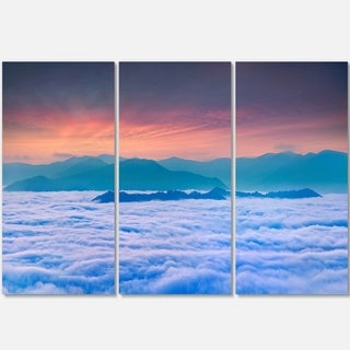 Designart - Sea of White Fog and Mountains - Landscape Photo Glossy Metal Wall Art