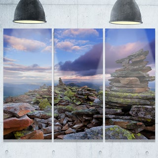 Designart - Piled Stones in Summer Mountains - Landscape Photo Glossy Metal Wall Art