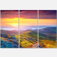 Designart - Rhododendron Flowers in Colorful Hills - Landscape Photo Glossy Metal Wall Art