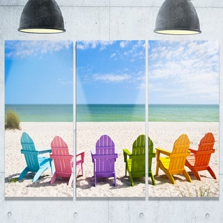 Designart - Adirondack Beach Chairs - Seashore Photo Glossy Metal Wall Art