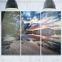 Designart - Sunset at River with Large Rock - Landscape Photo Glossy Metal Wall Art