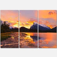 Designart - Sunset Above Vermilion Lakes - Landscape Photo Glossy Metal Wall Art