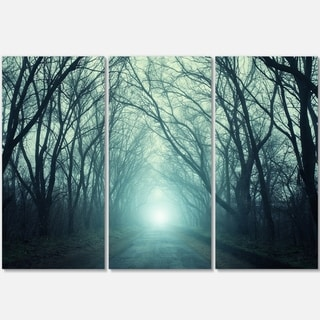 Designart - Fall Forest Path with Green Light - Landscape Photo Glossy Metal Wall Art