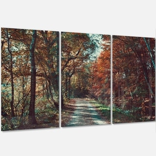 Designart - Road Through Red Fall Forest - Landscape Photo Glossy Metal Wall Art