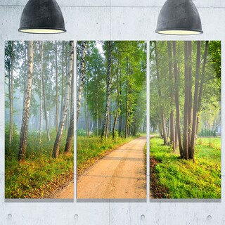 Designart - Road in Green Morning Forest - Landscape Photo Glossy Metal Wall Art